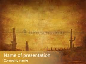 Western Powerpoint Template by Grunge Background With West Landscape Powerpoint