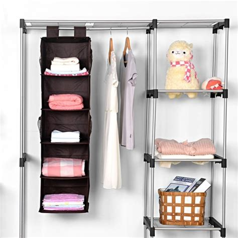 closet amazon amazon collapsible hanging closet organizer 5 shelf 4