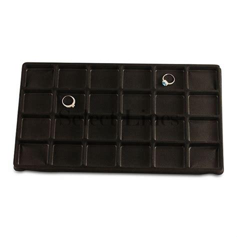 144 pc 24 compartment black flocked velvet tray insert