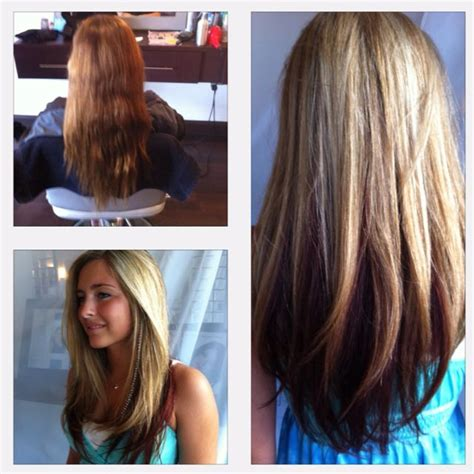 Lowlighting The Hair Under The Top Layer | before and after long layers blonde highlights red