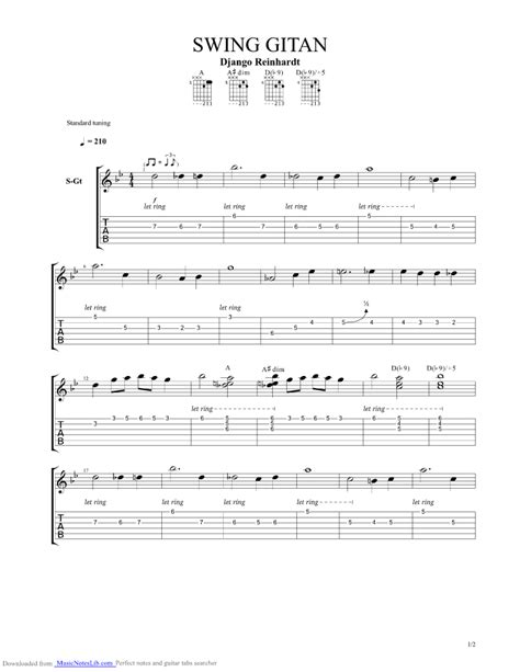 swing swing guitar tab django cadillac minor swing chords