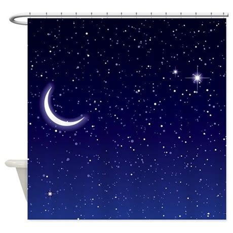shower curtain with stars night sky with moon and stars shower curtain by