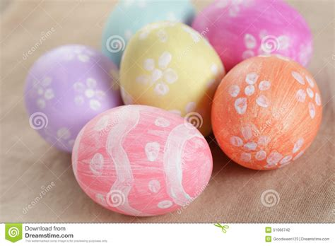 easter eggs with flowers handmade painted eggs stock