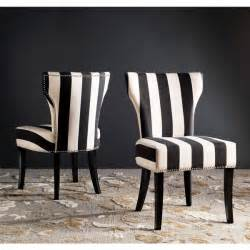 Black White Dining Chairs Safavieh En Vogue Dining Matty Black And White Striped Dining Chairs Set Of 2 Free Shipping