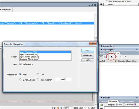dreamweaver tutorial javascript html formulare erstellen und mit css javascript