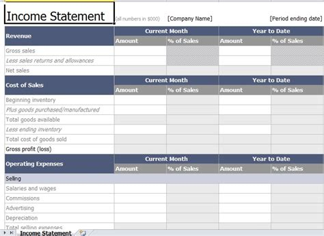income report template income statement template excel excel templates