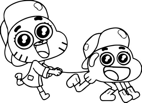 gumball coloring pages gumball darwin cat coloring page