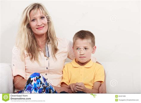 little kid couch happy family mother and kid on sofa at home stock photo