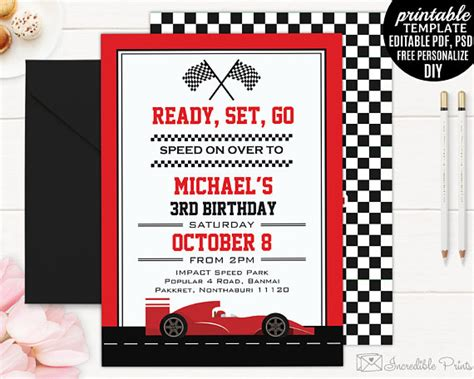 racing card templates race car boy birthday invitation template boy birthday