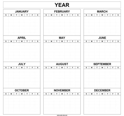 blank yearly calendar grid yearly calendar template 2018 printable calendar