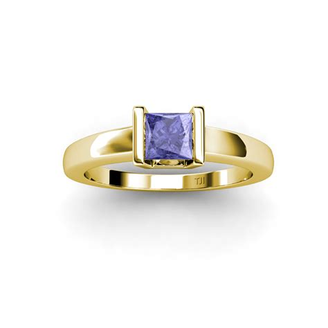 lab created tanzanite princess cut solitaire ring 0 90 ct