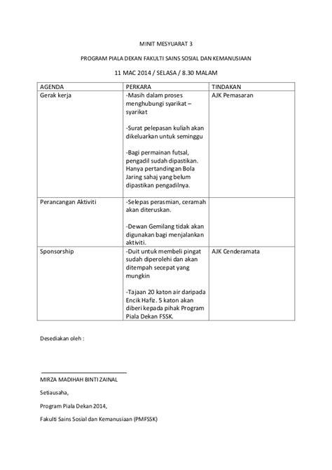 format laporan menghadiri mesyuarat minit mesyuarat