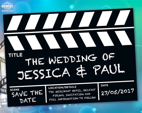 clapperboard business card template clapperboard wedding save the date cards wedfest