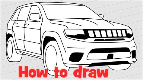 jeep drawing easy how to draw jeep grand trackhawk