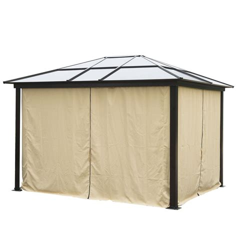 12 x 10 hardtop gazebo outdoor patio canopy with mesh and
