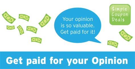 Get Paid For Your Opinion - sign up here to get paid for your opinions simple coupon deals