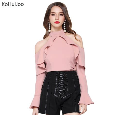 Jaqueer Ruffle Blouse Be2841 01 Black Blouse kohuijoo 2017 pink black white blouse shirt fashion casual sleeve blouses ruffle slim