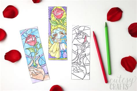 beauty beast coloring bookmarks cutesy crafts