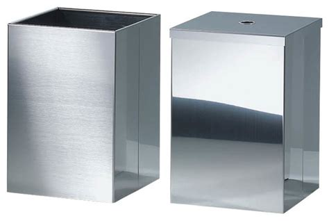 Stainless Steel Bathroom Lights Harmony Waste Basket With Cover In Polished Stainless