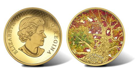 colored coins 2016 maple of canopy kaleidoscope of color gold coin