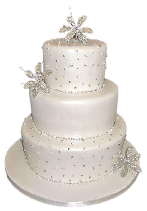 mirrored intials 3 tier with separator white wedding cake - 3 Tier Wedding Cake