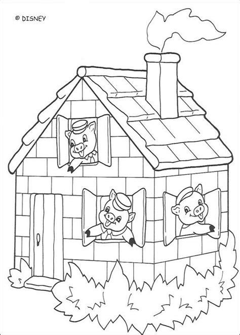 Three Pigs Houses Coloring Pages a beautiful brick house coloring pages hellokids