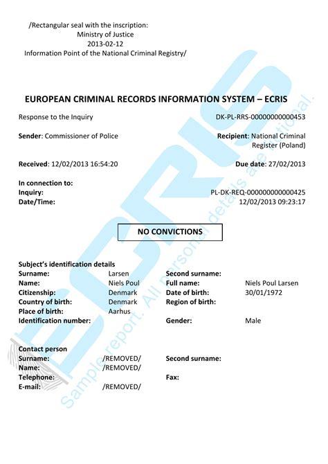 International Criminal Record Check Criminal Record Check From Central Criminal Records Register