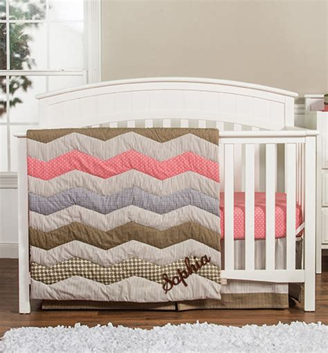 Personalized 3 Piece Crib Bedding Set Coral Chevron Coral Chevron Crib Bedding