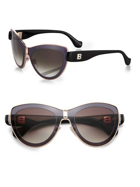 balenciaga high tech cat s eye sunglasses in brown black