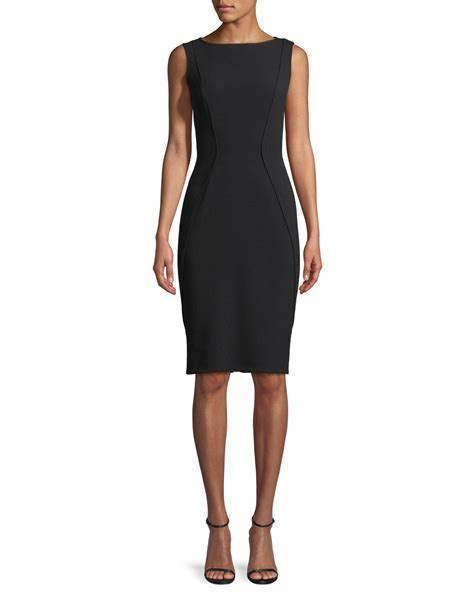 Lela Rose Sleeveless Boat Neck Sheath Dress   Neiman Marcus