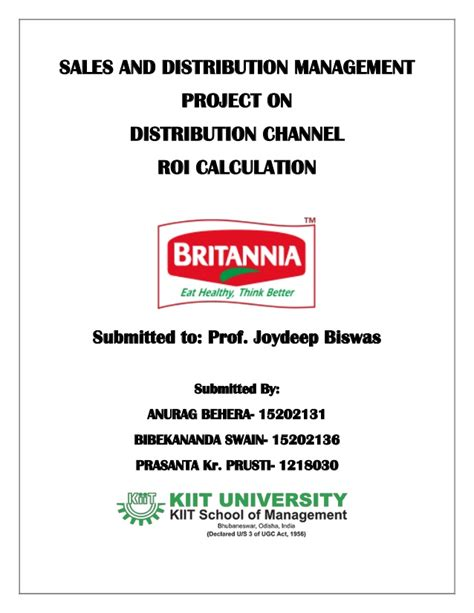 Mba Roi India by Roi For Distributor Of Britannia Report