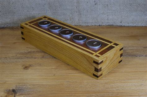 Candle Light Holder by 5 Candle Wooden Tea Light Holder In Wood