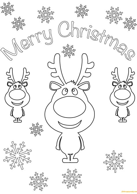 reindeer merry christmas cards coloring page  coloring pages