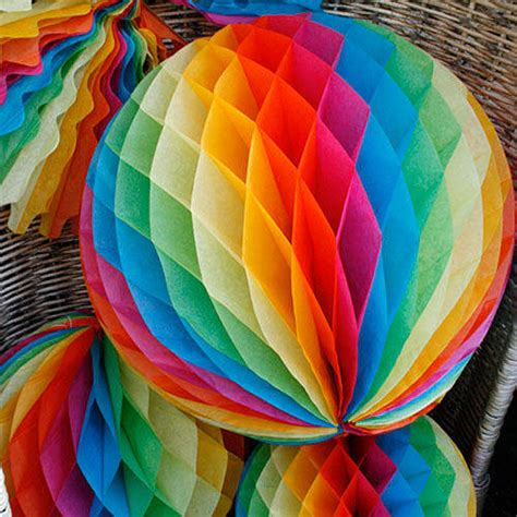 rainbow paper decorations by pearl and earl