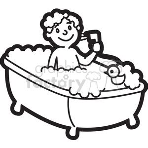 royalty free boy taking a bath cartoon in black and white