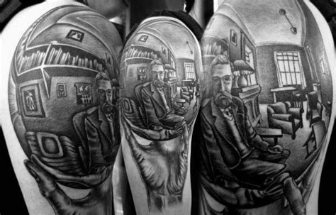 60 mc escher tattoo designs for men graphic artist ink ideas