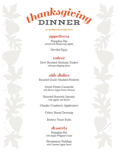 printable thanksgiving dinner planner thanksgiving menu printable holiday recipe roundup