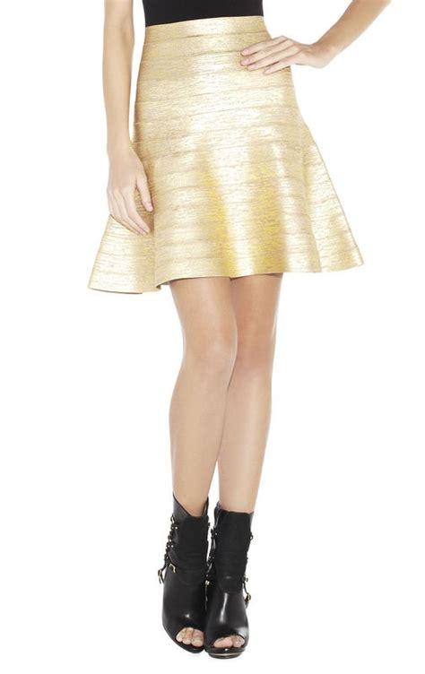 A289 Herve Ledger Skirt herve leger gold a line bandage skirt