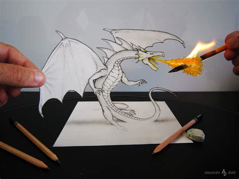 tutorial gambar 3d pencil little fire dragon by alessandrodiddi