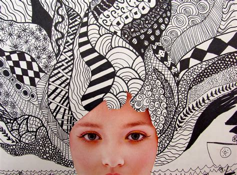 hair pattern art project two zentangle collages the nerdy art teacher