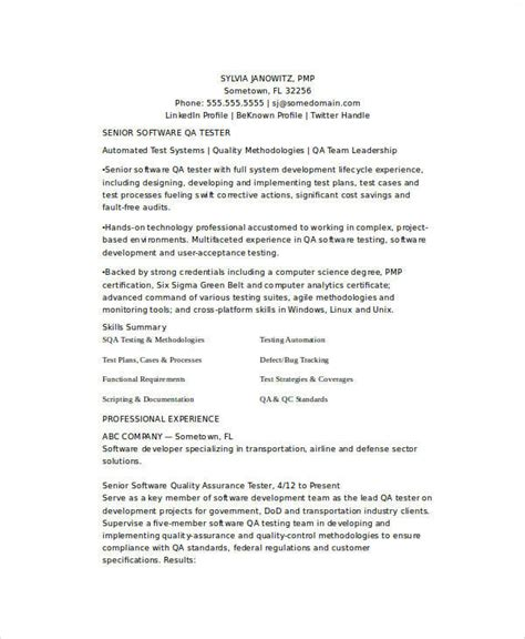 quality resume templates sle quality assurance resume 9 exles in word pdf