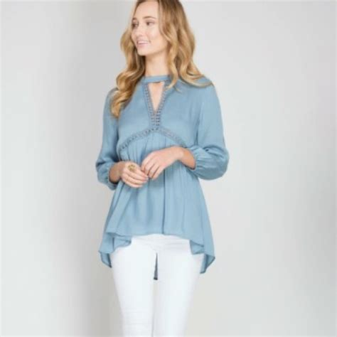 3 4 Sleeve Blouse Lois vintage blue woven 3 4 sleeve blouse from j s closet on