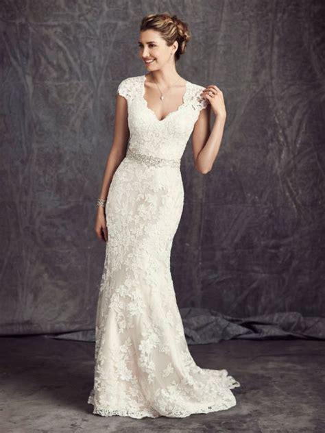 Hochzeitskleid Etuikleid by Chic Moderneseseses V Ausschnitt Fl 252 Gel 228 Rmel Stickerei