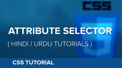 css tutorial urdu pdf how to use attribute selector in css hindi urdu