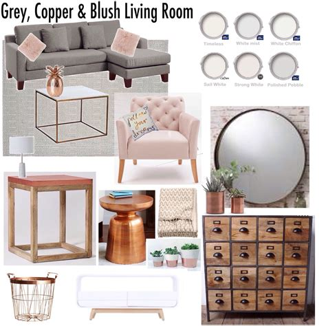 decorations blush gray copper room decor inspiration mauve home gray copper blush living room decor mood board decor
