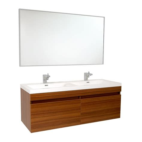 56 5 Inch Teak Modern Bathroom Vanity With Wavy Double Dual Bathroom Vanities