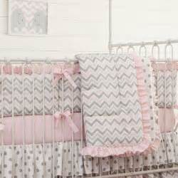 Baby Bedding Grey And Pink Pink And Gray Chevron Crib Comforter Carousel Designs