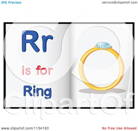 cartoon of alphabet letter r is for ring pages royalty