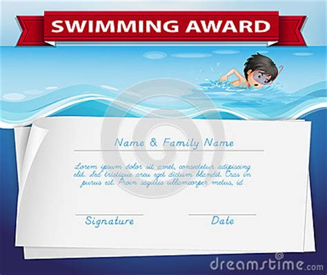 swimming award certificate template template of certificate for swimming award stock vector