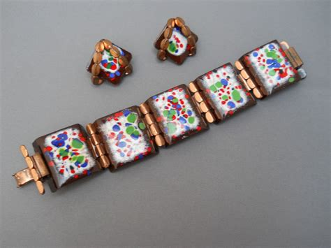 how to make copper enamel jewelry striking matisse copper and enamel bracelet and earring